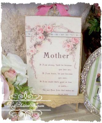 mother roses vintage image plaque