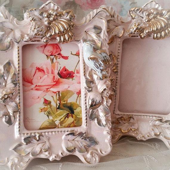 Shabby Cottage Vintage Pink & Gold Bird Frames Set 2