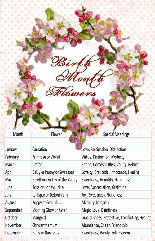 birth flowers and meanings, Natural flower