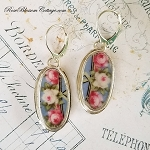 Blue with Pink & White Roses Long Oval Broken China Jewelry Earrings