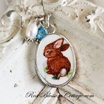 Easter Bunny Rabbit Standing Small Oval Pendant Necklace