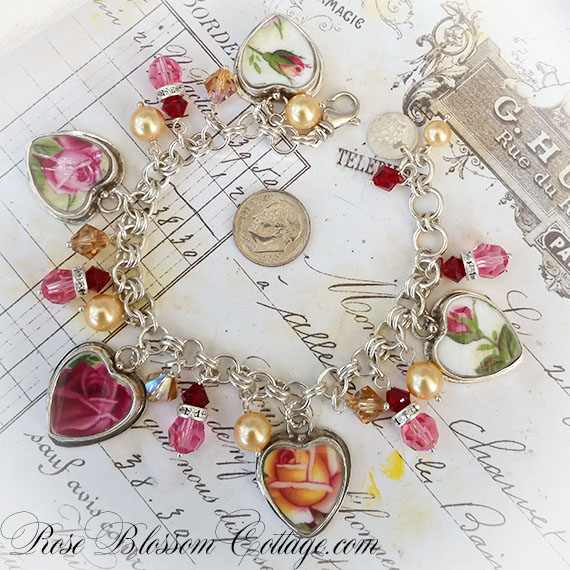 Old Country Roses Royal Albert Broken China Jewelry Bracelet Swarovski Crystals