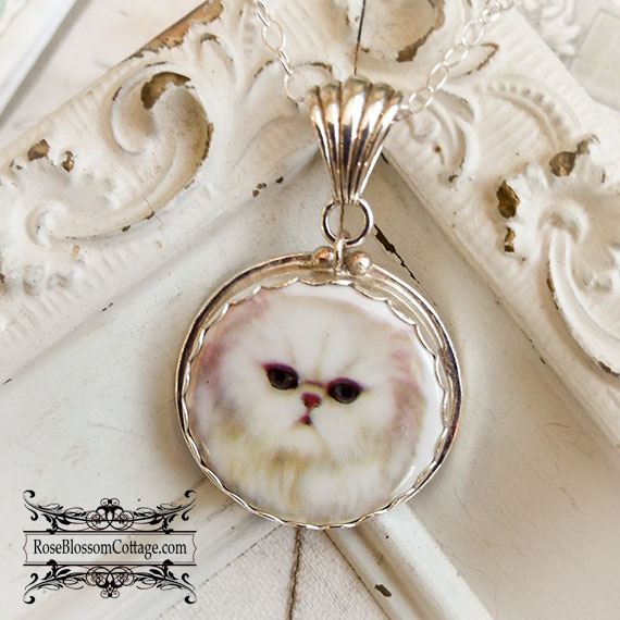 White Persian Cat Button Sterling Pendant Necklace
