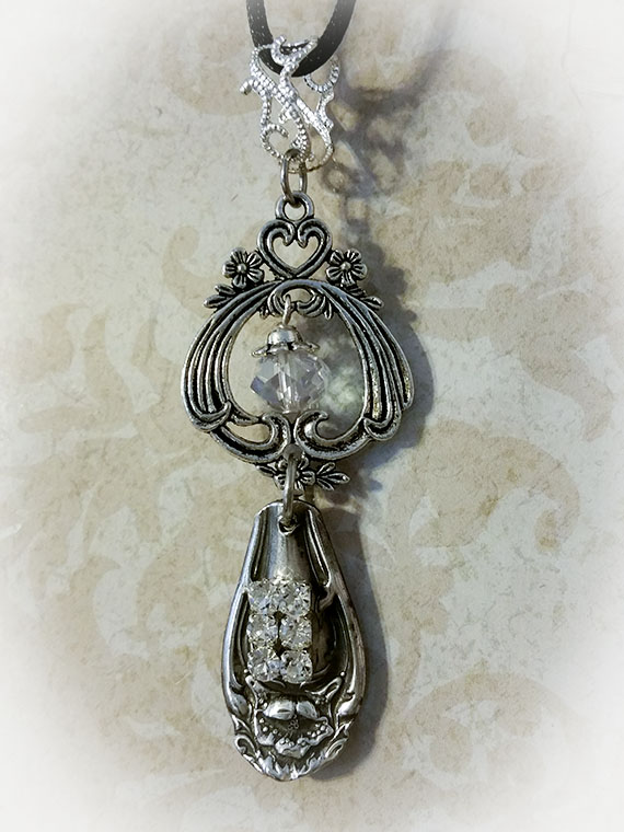 Filigree Vintage Silverplate Silverware Jewelry Necklace