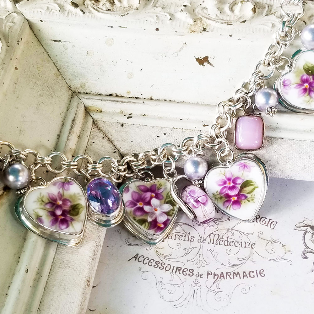 Sweet Violets Royal Albert Bone China Broken China Jewelry Charm Bracelet