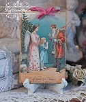 St. Nick, Pink Angel, and little Girl Antique Image Plaque