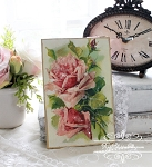 Catherine Klein Pink Roses Antique Image Plaque