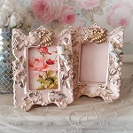 Shabby Cottage Vintage Pink & Gold Bird Frames Set 2