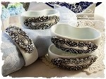 Elegant Porcelain Medallion Napkin Rings Set of 4