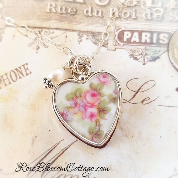 SOLD Austrian Pink Rose Vintage Broken China Jewelry Sterling Heart Charm Necklace