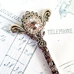 Ornate Bookmark Silver Tone Crystals