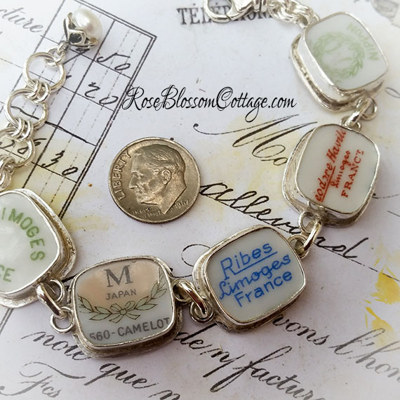 SOLD Broken China Jewelry Backstamp  Bracelet Haviland Limoges Nippon France Camelot