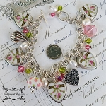 SOLD Chloe Vintage French Broken China Jewelry Sterling Heart Bead Charm Bracelet