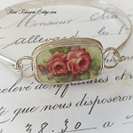 Double Pink Roses Broken China Jewelry Sterling Bangle Bracelet