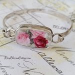 BESTSELLER Pink & Red Roses Porcelain Broken China Jewelry Sterling Oval Bangle Bracelet