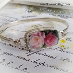 Romantic Roses Broken China Jewelry Sterling Bangle Bracelet