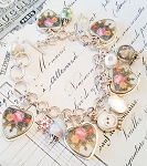 SOLD Rosabella Roses Broken China Jewelry Hearts Crystal Bracelet