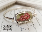 Pink Roses Broken China Jewelry Sterling Bangle Bracelet
