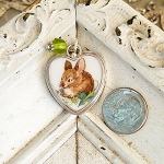 Bunny Broken China Jewelry Porcelain Sterling Charm or small Pendant