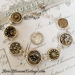 Antique Victorian & Civil War Picture Buttons Sterling Button Bracelet