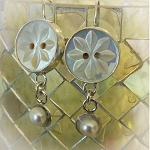 Carved Mother of Pearl Button & Freshwater Pearl Jewelry Sterling Earrings
