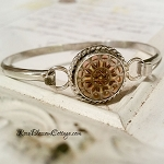 Antique Carved Mother of Pearl Button Sterling Bangle