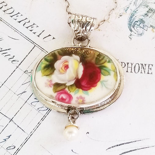 Royal Albert Celebration Rose Oval Broken china Jewelry Pendant Necklace