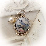 Blue Jay Sterling Porcelain Charm Glass Pearl  Sterling Bead
