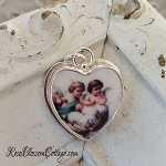 Angels Easter Eggs Broken China Jewelry Sterling Heart Charm
