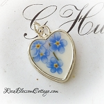 Forget me Not Broken China Jewelry Sterling Heart Charm