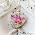 Austrian Pink Rose Vintage Broken China Jewelry Sterling Heart Charm