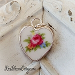 Pink Rose Broken China Jewelry Sterling Heart Charm 2