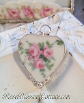 Vintage Broken China Jewelry Sterling Large Charm Pendant