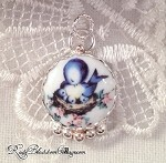 Momma Blue Bird & Chicks Porcelain Charm
