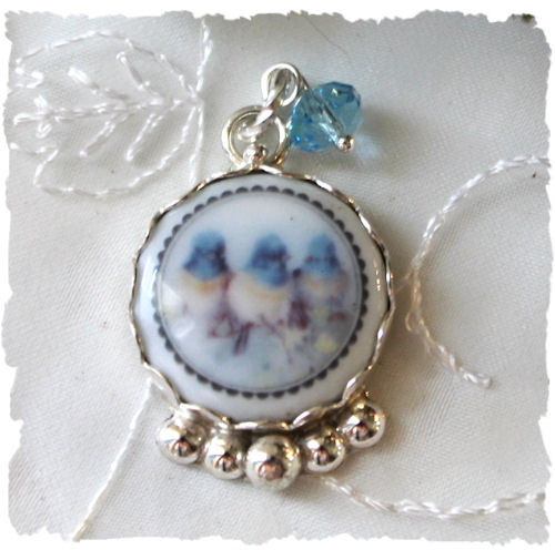 RETIRING DESIGN last ones...Bluebirds Porcelain Crystal Charm