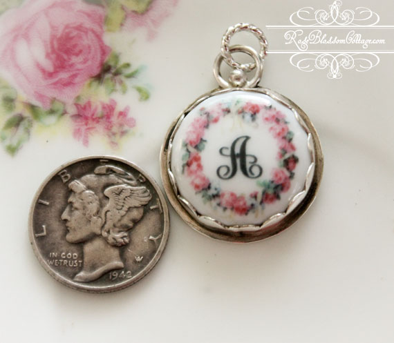 BESTSELLER Roses Wreath Initial Porcelain Sterling Charm or Pendant