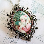 Porcelain Pink Santa Claus with Tree Silver Multi Crystals Pendant w/ Chain