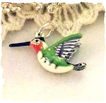 Enameled Hummingbird Sterling Silver Charm