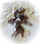 Fairy with Trumpet Sterling silver Pendant Charm