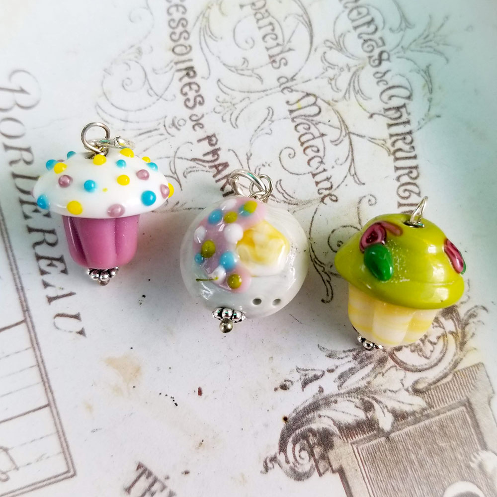 DeStash Cupcake Lampwork Bead Charms Glass and Sterling Silver Set / 3 A