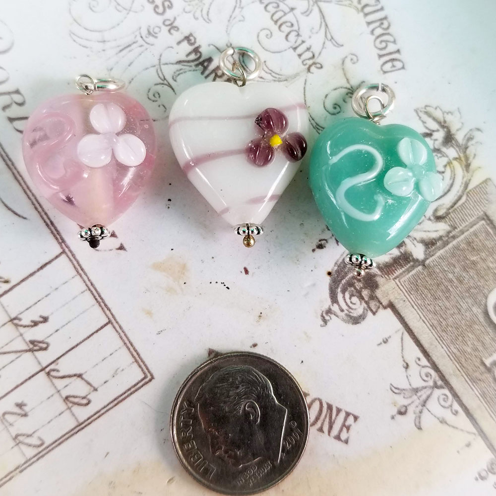 DeStash Cupcake Lampwork Bead Charms Glass and Sterling Silver Set / 3 E