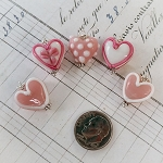 DeStash Lamp Work Glass Heart Sterling Pink & White 5pcs Set 2