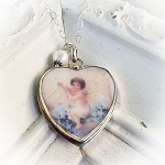DeStash Fairy Riding a Wave of Forget-Me-Nots Large Heart Charm Necklace