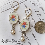Floral Oval Broken china Jewelry Earrings Sterling Pearl Leverback