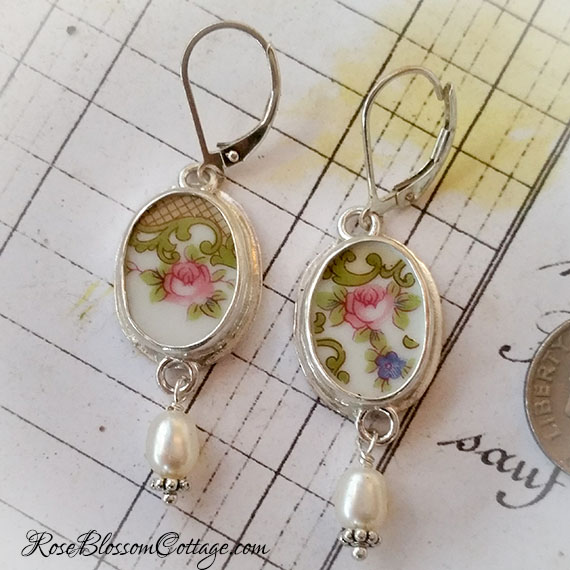 SOLD Antique Broken China Jewelry Oval Earrings Pearl