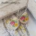 Pink Rose Floral on Creamy Vintage Broken China Jewelry Tear Drop Earrings