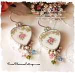 Shabby Rose Broken China Jewelry Crystal Earrings