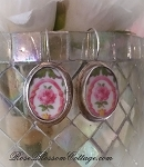 Pink Rose Oval Broken China Jewelry Vintage Porcelain Sterling Earrings