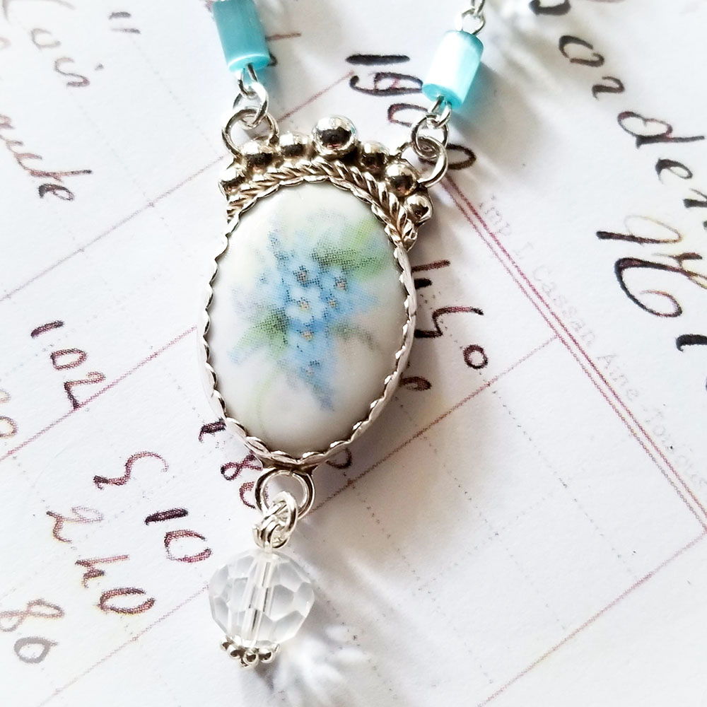 DeStash Porcelain Sterling silver Forget Me Not Blue Necklace Pendant