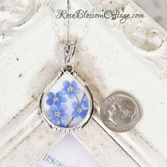 271778bb09e46 Forget Me Not Plump Teardrop Broken China Jewelry Sterling Pendant Necklace